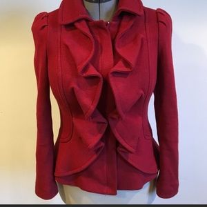 INC International Concepts Jackets & Coats - Peplum, ruffled, red, stretch, Buckle sleeve coat